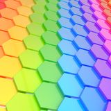 Abstract background hexagon plate. Abstract background made of rainbow colored hexagon plate composition Royalty Free Stock Photo