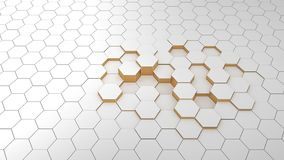 Abstract background hexagon white and golden in perspective. Pattern clear and modern matrix close up vector illustration