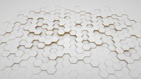 Abstract background hexagon white and golden in perspective. Pattern clear and modern matrix royalty free illustration