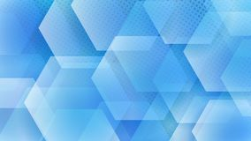 Abstract background of hexagons. And halftone dots in light blue colors royalty free illustration