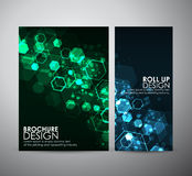 Abstract background hexagons. Brochure business design template or roll up. Vector illustration Stock Photos