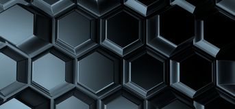 Abstract Background With Hexagons. 3D Rendering Of Abstract Background With Hexagons Royalty Free Stock Images