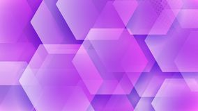 Abstract background of hexagons. And halftone dots in purple colors royalty free illustration