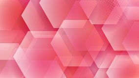 Abstract background of hexagons. And halftone dots in red colors stock illustration