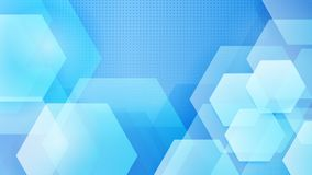 Abstract background of hexagons. And halftone dots in white and light blue colors stock illustration