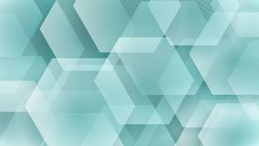 Abstract background of hexagons. And halftone dots in white and turquoise colors Royalty Free Illustration