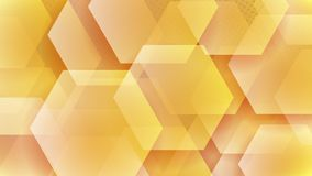 Abstract background of hexagons. And halftone dots in yellow colors royalty free illustration