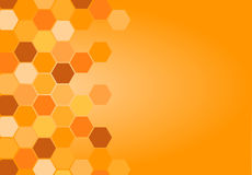 Abstract background with hexagons. In shades of orange and yellow, with a free part for text Royalty Free Stock Photos