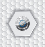 Abstract background with hexagons and shiny button Royalty Free Stock Images