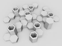 Abstract background of hexagons. Voluminous shapes Royalty Free Stock Photos