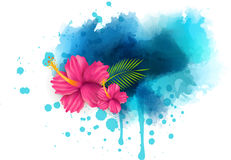 Abstract background with hibiscus flowers. Abstract summer background with hibiscus flowers on colorful watercolor splash Stock Illustration