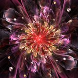 Abstract background. Abstract high resolution wallpaper with a detailed modern exotic looking shining flower in the center and a detailed decorative pattern with stock illustration