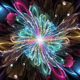 Abstract background. Abstract high resolution wallpaper with a detailed modern exotic looking shining flower in the center and a detailed decorative pattern with vector illustration