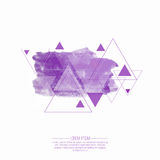 Abstract background with hipster triangles. And Smear watercolor painting. Triangle pattern background. For cover book, brochure, flyer, poster, magazine, cd royalty free illustration
