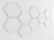Abstract background. Honeycomb frames on the wall. 3D render. Royalty Free Stock Photography