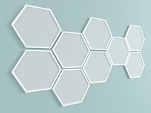 Abstract background. Honeycomb frames on the wall. 3D render. Stock Photography