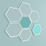 Abstract background. Honeycomb frames on the wall. 3D render. Stock Images