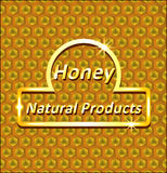 Abstract background of honeycombs. With a gold label vector illustration
