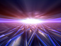 Abstract Background Horizon. An abstract illustration background of a bright star flash on a grunge criss cross target grid horizon Stock Illustration
