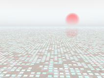 Abstract Background Horizon. A background grid matrix with a red rising sun in a white foggy sky Stock Photography