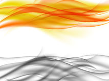 Abstract background with horizontal grey smoke and orange flames in front of each other Stock Image