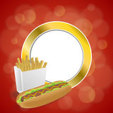 Abstract background hot dog white French fries box red yellow gold circle frame illustration Royalty Free Stock Images