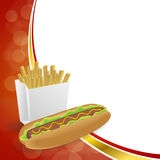 Abstract background hot dog white French fries box red yellow gold frame illustration Royalty Free Stock Image