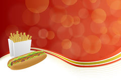 Abstract background hot dog white French fries box red yellow gold illustration Royalty Free Stock Images