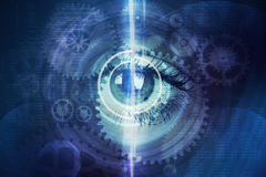 Abstract background with human eye and cogs Stock Photography