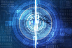 Abstract background with human eye and flash waves Stock Photography