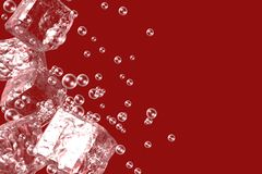 Abstract background with ice cubes on a red background. Stock Image