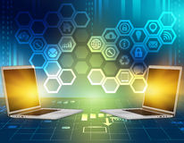 Abstract background with icons inside the hexagon. And laptop computers Stock Photo