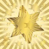 Abstract background illustration. Six-final stars on a gold background with beams Stock Photo