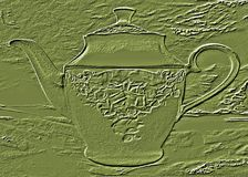 Green background with a picture of a teapot. Stock Images