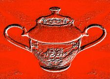 Red background with a picture of a sugar bowl. Royalty Free Stock Photo