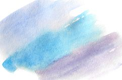 Abstract background illustration in the form of three watercolor strokes performed in cold blue and violet tones.  stock illustration