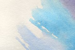Abstract background illustration in the form of three watercolor strokes performed in cold blue and violet tones.  royalty free illustration