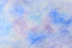 Abstract background illustration in the form of watercolor strokes and drops, executed in cold blue and purple tones.  royalty free illustration