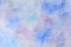 Abstract background illustration in the form of watercolor strokes and drops, executed in cold blue and purple tones.  stock illustration