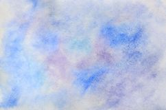 Abstract background illustration in the form of watercolor strokes and drops, executed in cold blue and purple tones.  vector illustration