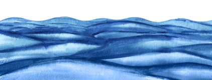 Free Abstract Background Illustration. Rough Surface Of The Reservoir. A Lot Of Blue Turquoise Waves. Wavy Watercolor Sea Royalty Free Stock Photos - 167198268
