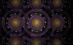 Abstract background image of concentric violet circles with a yellow center on a black background.  Stock Image