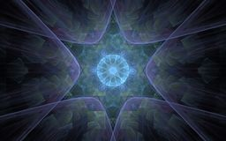 Abstract background image of a geometric star shape with an ornament inside and a symmetrical pattern around a star.  royalty free illustration