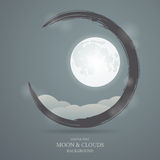 Abstract background with the image of the moon and clouds Stock Image