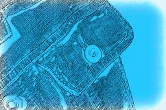 Abstract background with image of pocket jeans jacket. Abstract blue background with image of pocket jeans jacket Royalty Free Stock Photo