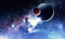 Space planets and nebula. Abstract background image with space planets and starry sky. Elements of this image furnished by NASA Stock Photos