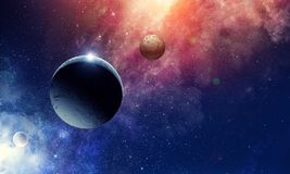 Space planets and nebula. Abstract background image with space planets and starry sky. Elements of this image furnished by NASA Stock Image