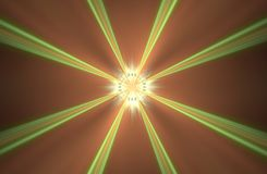 Abstract background image space portal with long green rays diverging from the center with a glowing middle and orange background.  Royalty Free Stock Photos