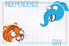 Abstract background with Indian animals. The tiger and the elephant. Background for the feast day of independence Royalty Free Stock Image