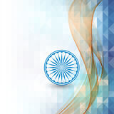 Abstract background Indian independence Day. Transparent green waves and the wheel Stock Photo